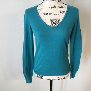 5/$25 J. Crew V-neck teal lightweight sweater S